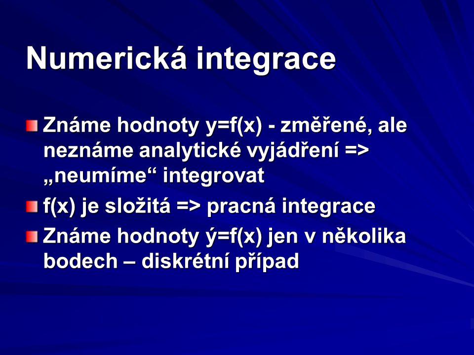 """Numerická integrace Známe hodnoty y=f(x) - změřené, ale neznáme analytické vyjádření => """"neumíme"""" integrovat f(x) je složitá => pracná integrace Známe"""