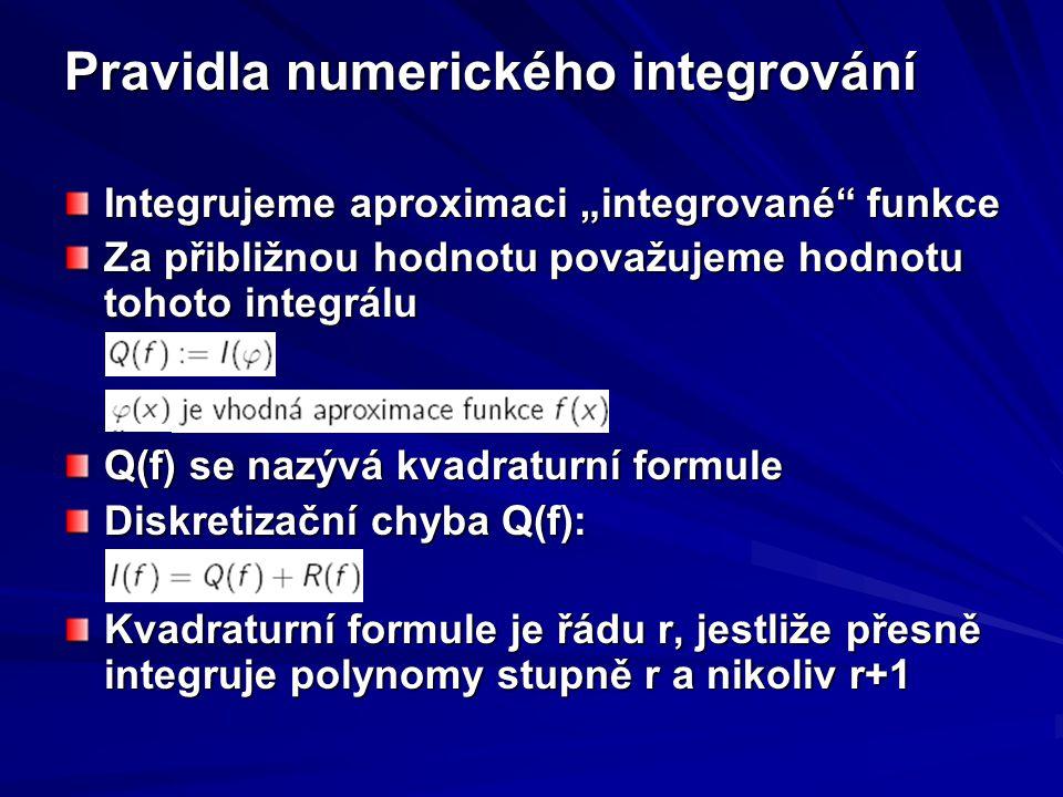 """Pravidla numerického integrování Integrujeme aproximaci """"integrované"""" funkce Za přibližnou hodnotu považujeme hodnotu tohoto integrálu Q(f) se nazývá"""