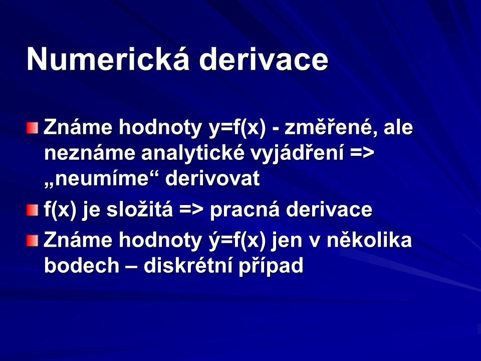 """Numerická derivace Známe hodnoty y=f(x) - změřené, ale neznáme analytické vyjádření => """"neumíme"""" derivovat f(x) je složitá => pracná derivace Známe ho"""