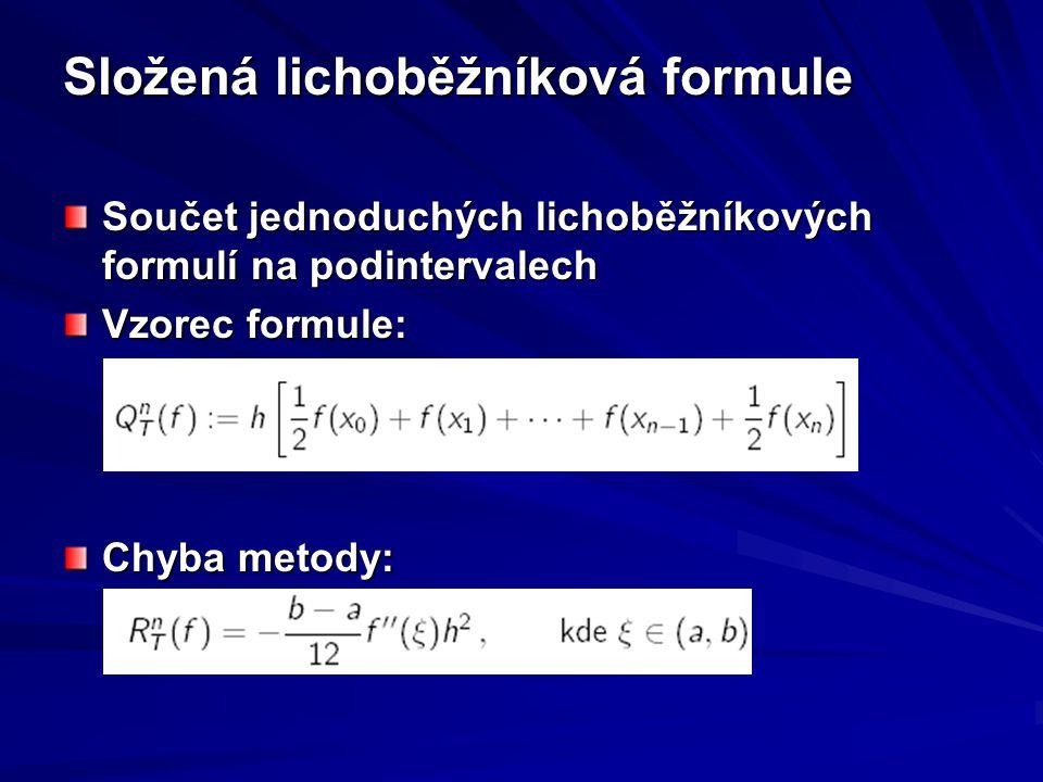 Složená lichoběžníková formule Součet jednoduchých lichoběžníkových formulí na podintervalech Vzorec formule: Chyba metody: