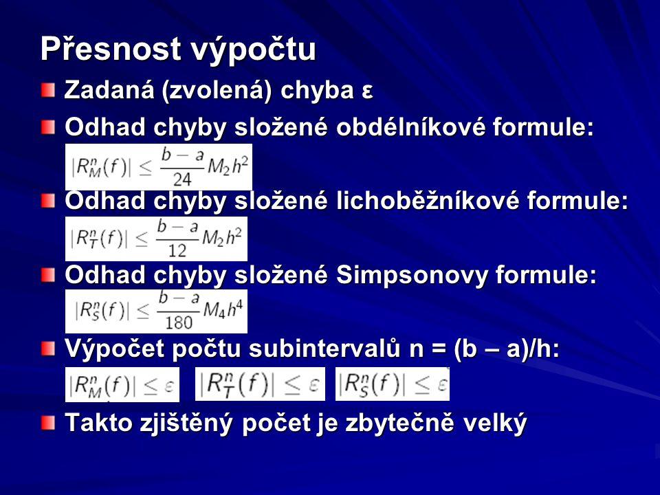 Přesnost výpočtu Zadaná (zvolená) chyba ε Odhad chyby složené obdélníkové formule: Odhad chyby složené lichoběžníkové formule: Odhad chyby složené Sim