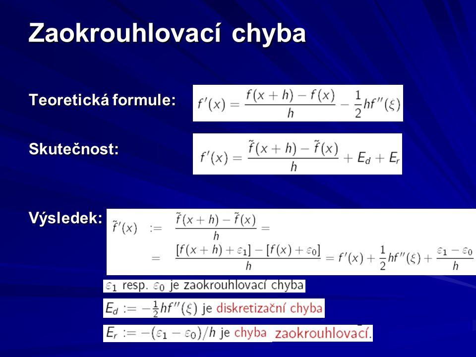 Chování chyb 1.sčítanec = formule výpočtu 2.