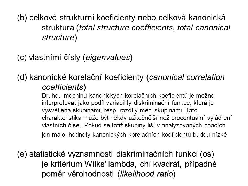 (b) celkové strukturní koeficienty nebo celková kanonická struktura (total structure coefficients, total canonical structure) (c) vlastními čísly (eigenvalues) (d) kanonické korelační koeficienty (canonical correlation coefficients) Druhou mocninu kanonických korelačních koeficientů je možné interpretovat jako podíl variability diskriminační funkce, která je vysvětlena skupinami, resp.