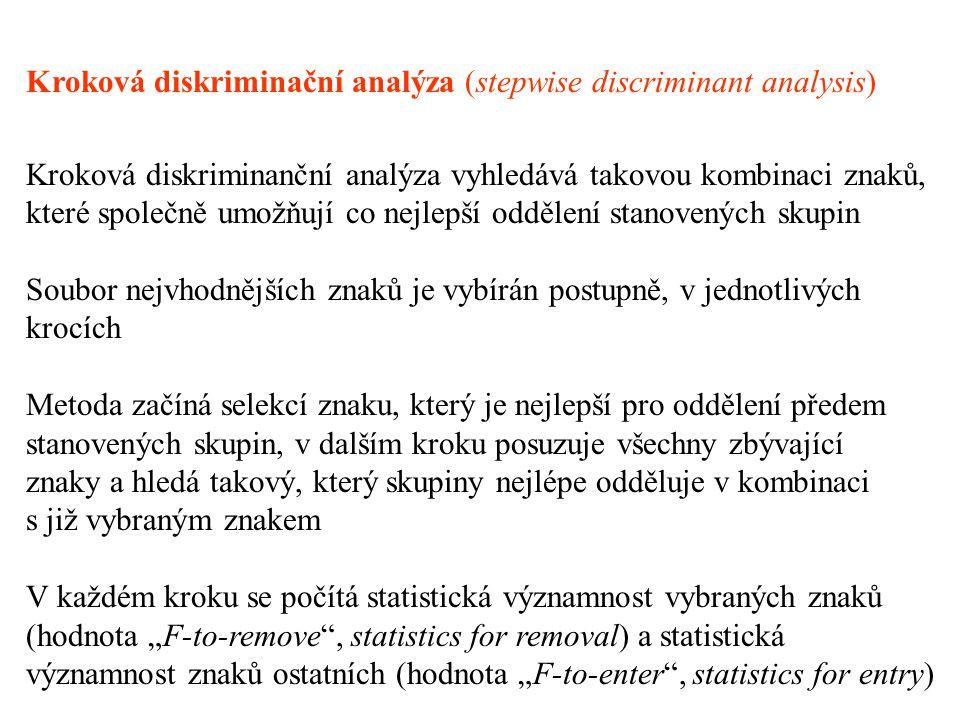 """Kroková diskriminační analýza (stepwise discriminant analysis) Kroková diskriminanční analýza vyhledává takovou kombinaci znaků, které společně umožňují co nejlepší oddělení stanovených skupin Soubor nejvhodnějších znaků je vybírán postupně, v jednotlivých krocích Metoda začíná selekcí znaku, který je nejlepší pro oddělení předem stanovených skupin, v dalším kroku posuzuje všechny zbývající znaky a hledá takový, který skupiny nejlépe odděluje v kombinaci s již vybraným znakem V každém kroku se počítá statistická významnost vybraných znaků (hodnota """"F-to-remove , statistics for removal) a statistická významnost znaků ostatních (hodnota """"F-to-enter , statistics for entry)"""