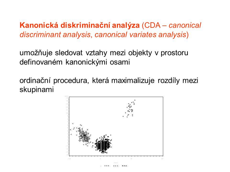 Kanonická diskriminační analýza (CDA – canonical discriminant analysis, canonical variates analysis) umožňuje sledovat vztahy mezi objekty v prostoru definovaném kanonickými osami ordinační procedura, která maximalizuje rozdíly mezi skupinami