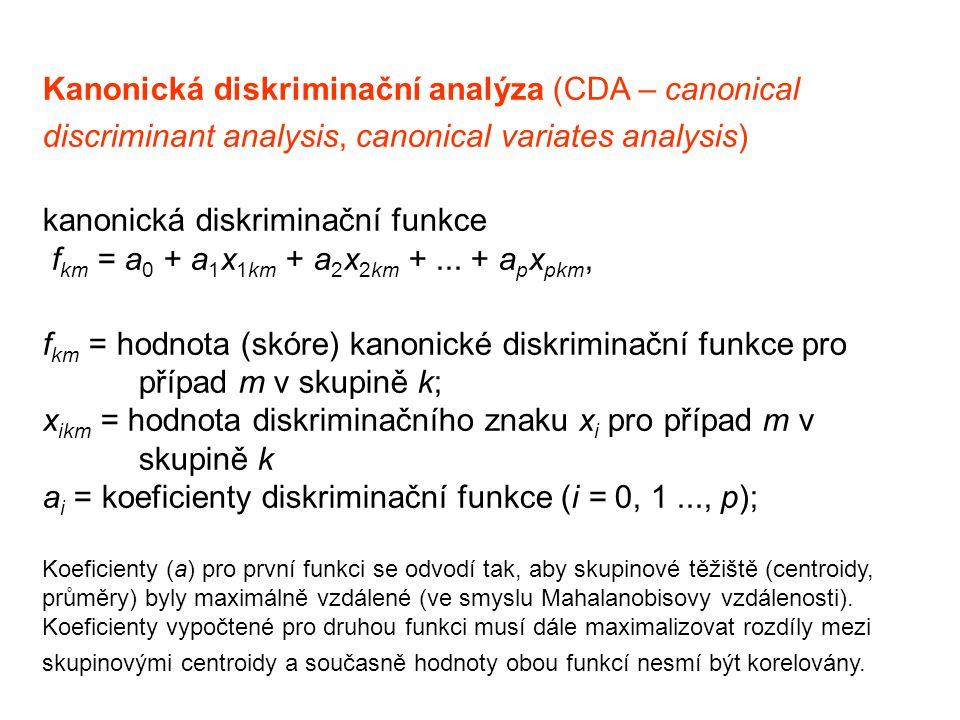 Kanonická diskriminační analýza (CDA – canonical discriminant analysis, canonical variates analysis) kanonická diskriminační funkce f km = a 0 + a 1 x 1km + a 2 x 2km +...