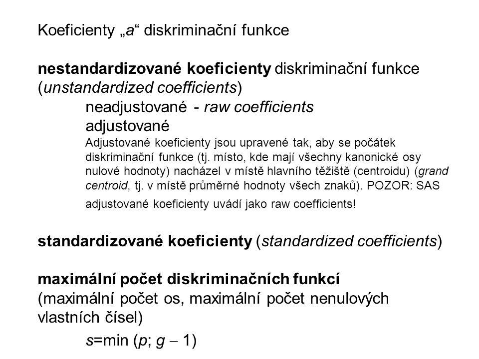 """Koeficienty """"a diskriminační funkce nestandardizované koeficienty diskriminační funkce (unstandardized coefficients) neadjustované - raw coefficients adjustované Adjustované koeficienty jsou upravené tak, aby se počátek diskriminační funkce (tj."""