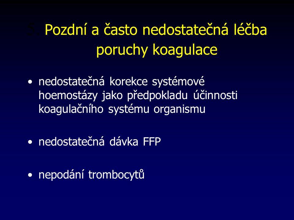 5. Pozdní a často nedostatečná léčba poruchy koagulace nedostatečná korekce systémové hoemostázy jako předpokladu účinnosti koagulačního systému organ
