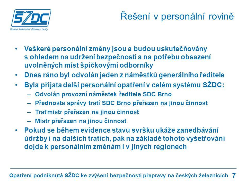 Opatření podniknutá SŽDC ke zvýšení bezpečnosti přepravy na českých železnicích Řešení v personální rovině 7 Veškeré personální změny jsou a budou uskutečňovány s ohledem na udržení bezpečnosti a na potřebu obsazení uvolněných míst špičkovými odborníky Dnes ráno byl odvolán jeden z náměstků generálního ředitele Byla přijata další personální opatření v celém systému SŽDC: –Odvolán provozní náměstek ředitele SDC Brno –Přednosta správy tratí SDC Brno přeřazen na jinou činnost –Traťmistr přeřazen na jinou činnost –Mistr přeřazen na jinou činnost Pokud se během evidence stavu svršku ukáže zanedbávání údržby i na dalších tratích, pak na základě tohoto vyšetřování dojde k personálním změnám i v jiných regionech