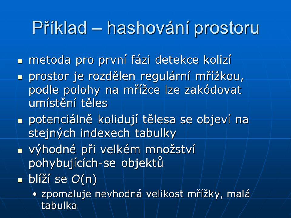 Příklad – hashování prostoru metoda pro první fázi detekce kolizí metoda pro první fázi detekce kolizí prostor je rozdělen regulární mřížkou, podle po
