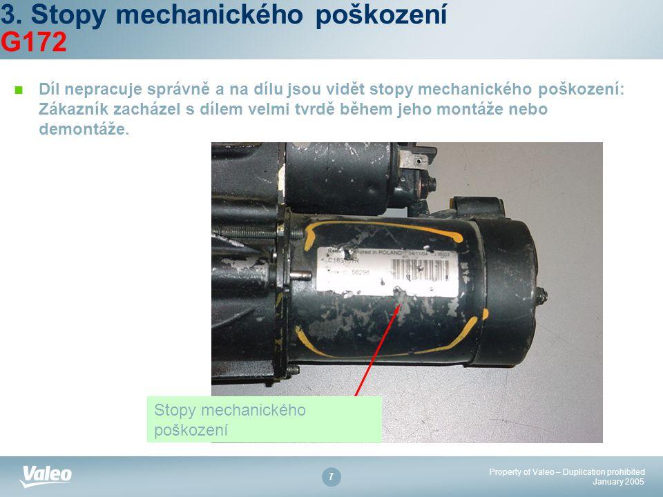 Property of Valeo – Duplication prohibited January 2005 7 3. Stopy mechanického poškození G172 Díl nepracuje správně a na dílu jsou vidět stopy mechan