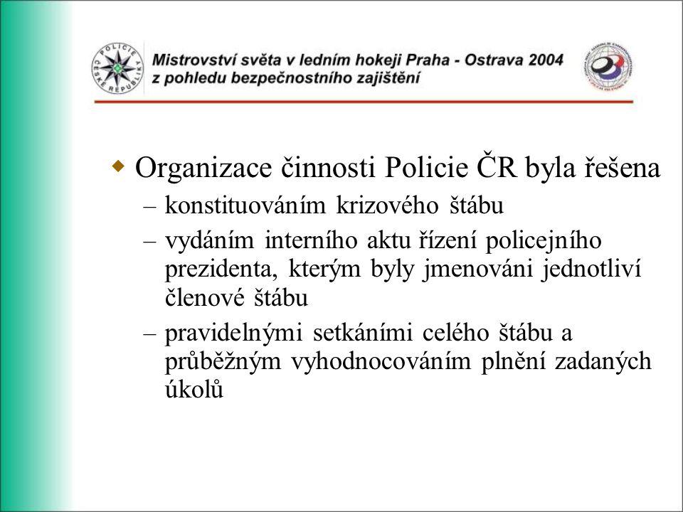  Organizace činnosti Policie ČR byla řešena – konstituováním krizového štábu – vydáním interního aktu řízení policejního prezidenta, kterým byly jmenováni jednotliví členové štábu – pravidelnými setkáními celého štábu a průběžným vyhodnocováním plnění zadaných úkolů