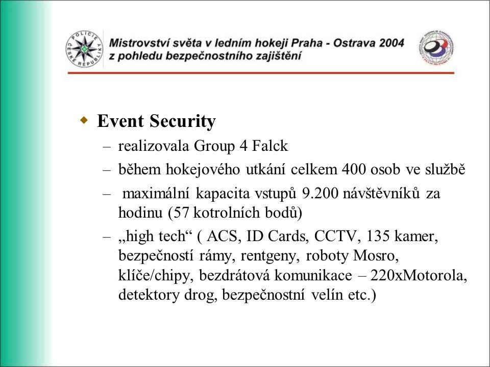 """ Event Security – realizovala Group 4 Falck – během hokejového utkání celkem 400 osob ve službě – maximální kapacita vstupů 9.200 návštěvníků za hodinu (57 kotrolních bodů) – """"high tech ( ACS, ID Cards, CCTV, 135 kamer, bezpečností rámy, rentgeny, roboty Mosro, klíče/chipy, bezdrátová komunikace – 220xMotorola, detektory drog, bezpečnostní velín etc.)"""