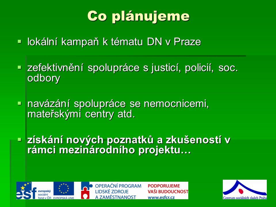 Co plánujeme  lokální kampaň k tématu DN v Praze  zefektivnění spolupráce s justicí, policií, soc.
