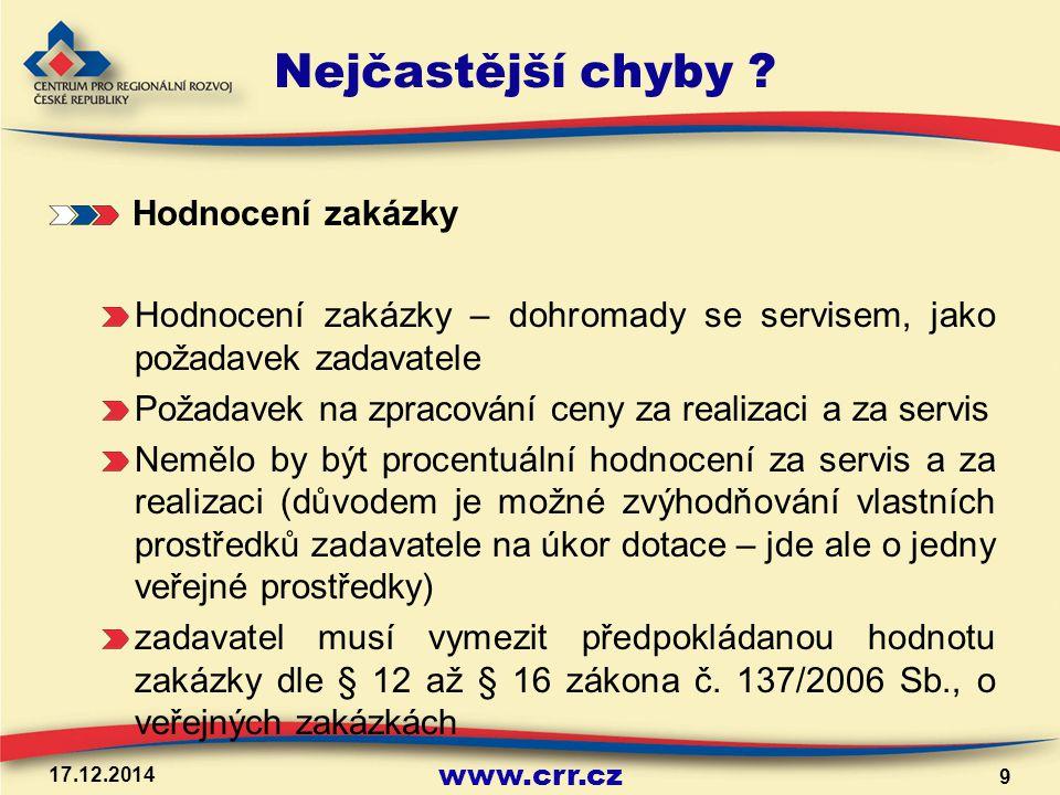 www.crr.cz 17.12.2014 9 Nejčastější chyby .