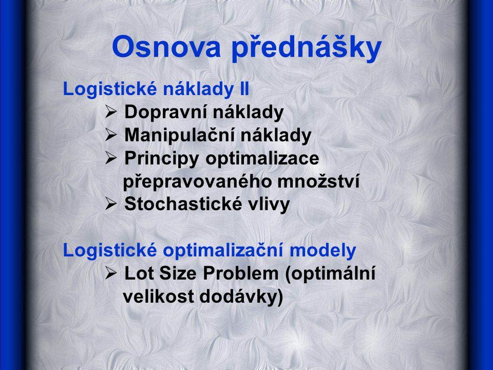 Osnova přednášky Logistické náklady II  Dopravní náklady  Manipulační náklady  Principy optimalizace přepravovaného množství  Stochastické vlivy L