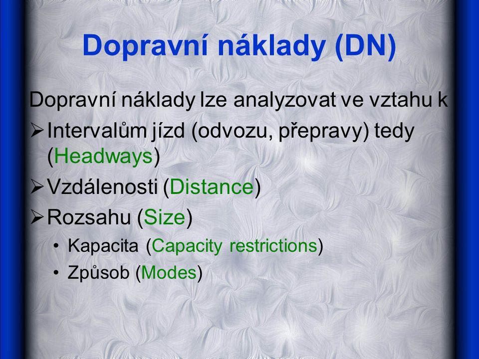 Dopravní náklady (DN) Dopravní náklady lze analyzovat ve vztahu k  Intervalům jízd (odvozu, přepravy) tedy (Headways)  Vzdálenosti (Distance)  Rozs
