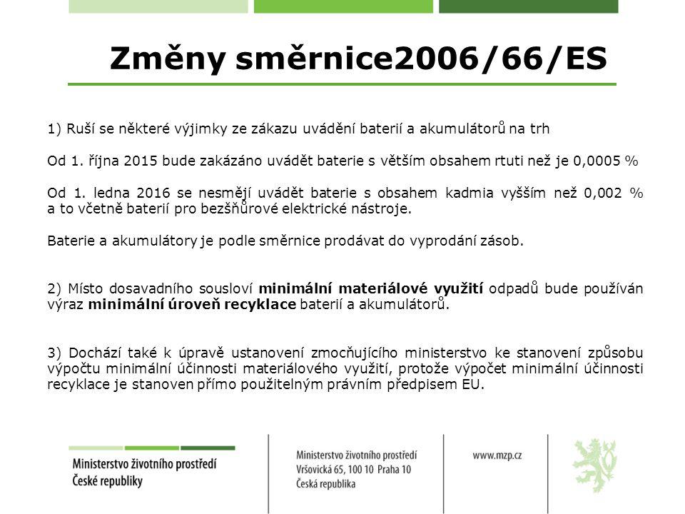 Změny směrnice2006/66/ES 1) Ruší se některé výjimky ze zákazu uvádění baterií a akumulátorů na trh Od 1.