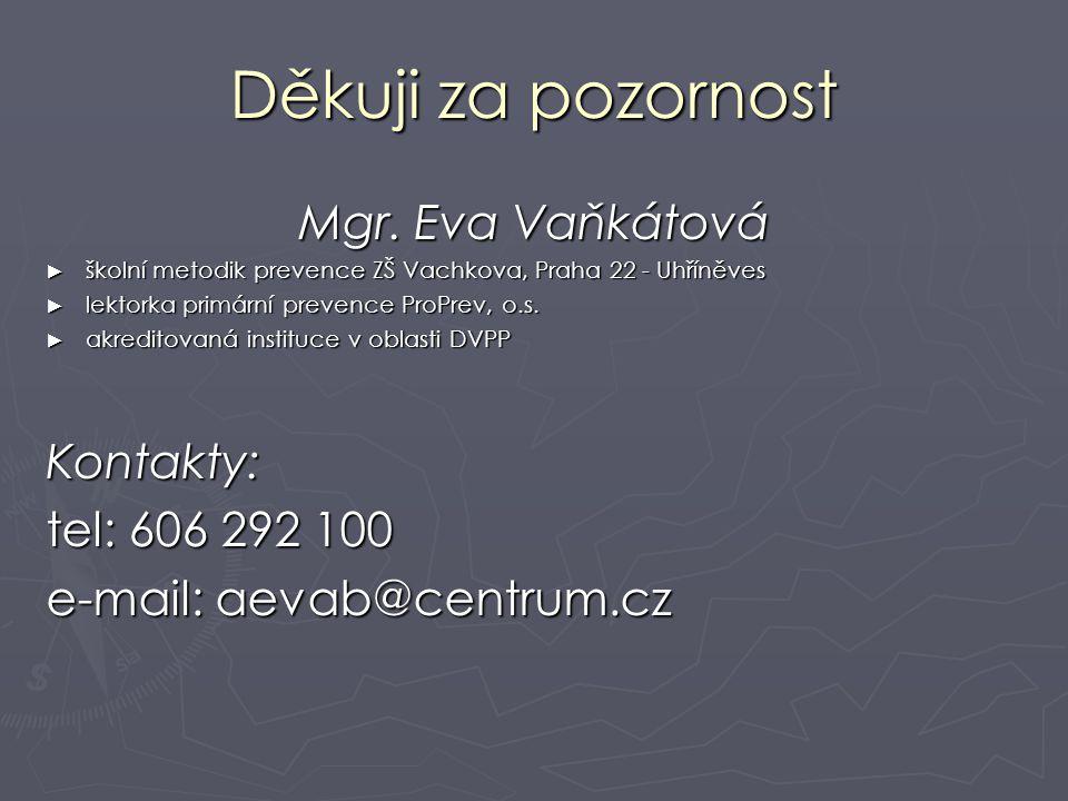 Děkuji za pozornost Mgr. Eva Vaňkátová ► školní metodik prevence ZŠ Vachkova, Praha 22 - Uhříněves ► lektorka primární prevence ProPrev, o.s. ► akredi