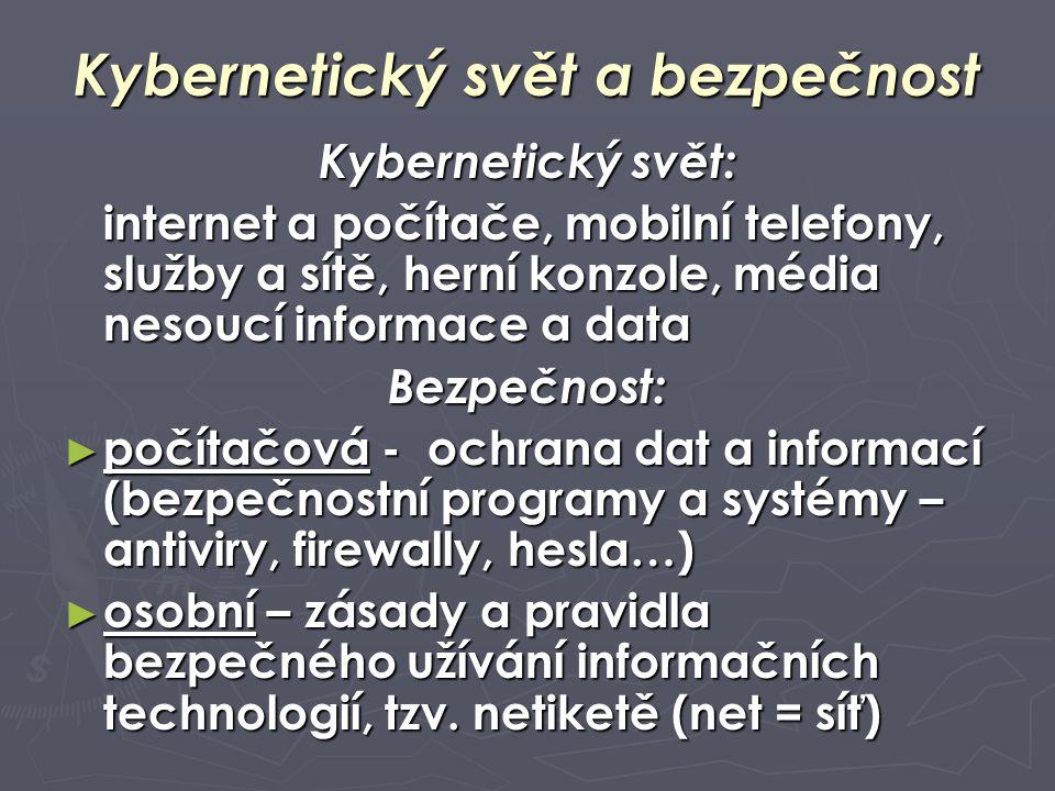 Kybernetický svět a bezpečnost Kybernetický svět: internet a počítače, mobilní telefony, služby a sítě, herní konzole, média nesoucí informace a data