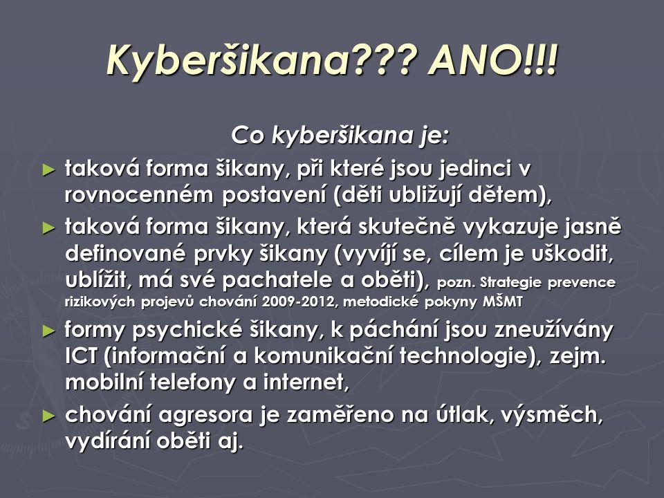 Kyberšikana??? ANO!!! Co kyberšikana je: ► taková forma šikany, při které jsou jedinci v rovnocenném postavení (děti ubližují dětem), ► taková forma š