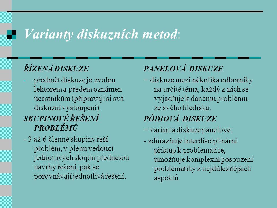 Varianty diskuzních metod: ŘÍZENÁ DISKUZE - předmět diskuze je zvolen lektorem a předem oznámen účastníkům (připravují si svá diskuzní vystoupení). SK