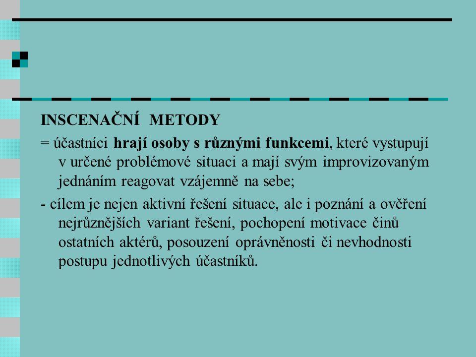 INSCENAČNÍ METODY = účastníci hrají osoby s různými funkcemi, které vystupují v určené problémové situaci a mají svým improvizovaným jednáním reagovat