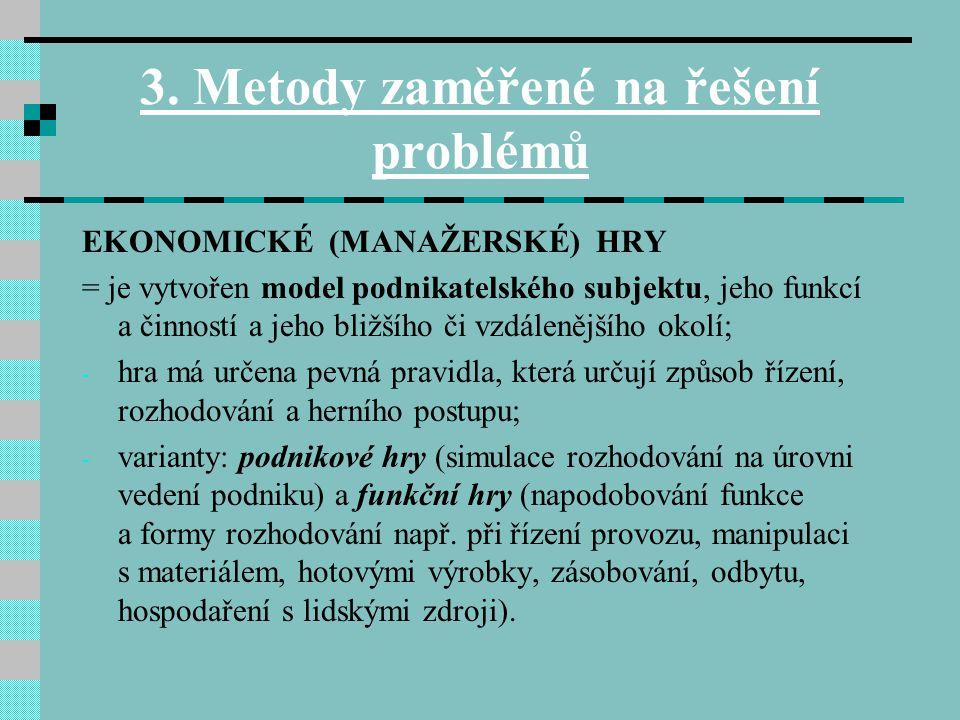 3. Metody zaměřené na řešení problémů EKONOMICKÉ (MANAŽERSKÉ) HRY = je vytvořen model podnikatelského subjektu, jeho funkcí a činností a jeho bližšího