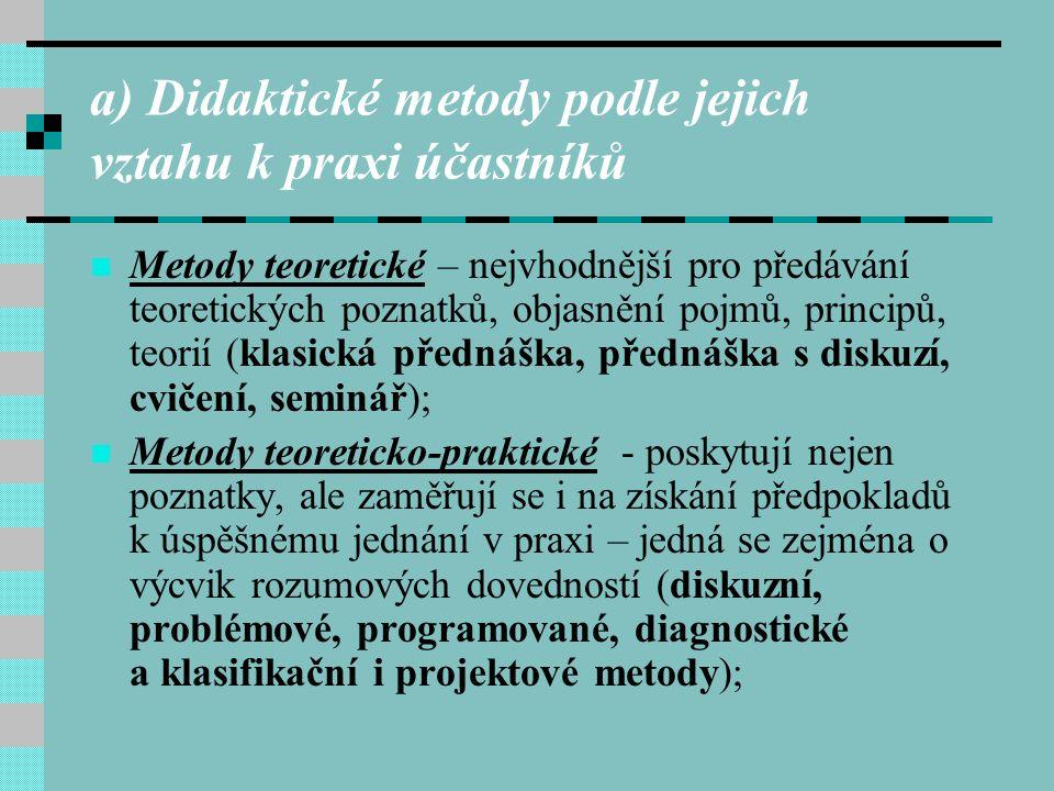 a) Didaktické metody podle jejich vztahu k praxi účastníků Metody teoretické – nejvhodnější pro předávání teoretických poznatků, objasnění pojmů, prin