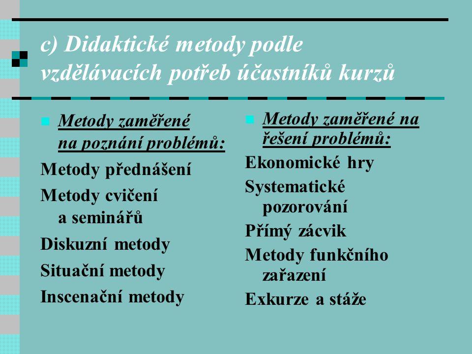 c) Didaktické metody podle vzdělávacích potřeb účastníků kurzů Metody zaměřené na poznání problémů: Metody přednášení Metody cvičení a seminářů Diskuz