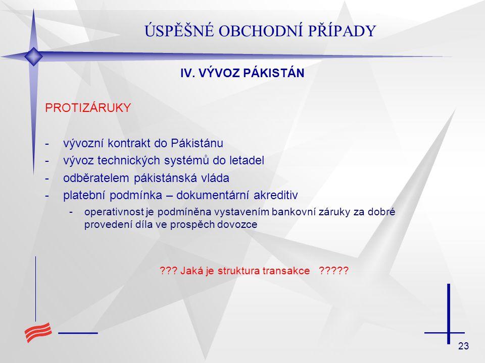 23 ÚSPĚŠNÉ OBCHODNÍ PŘÍPADY IV. VÝVOZ PÁKISTÁN PROTIZÁRUKY -vývozní kontrakt do Pákistánu -vývoz technických systémů do letadel -odběratelem pákistáns