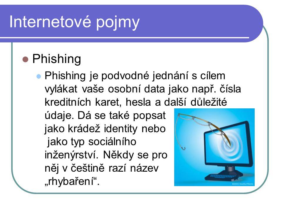 Internetové pojmy Phishing Phishing je podvodné jednání s cílem vylákat vaše osobní data jako např.