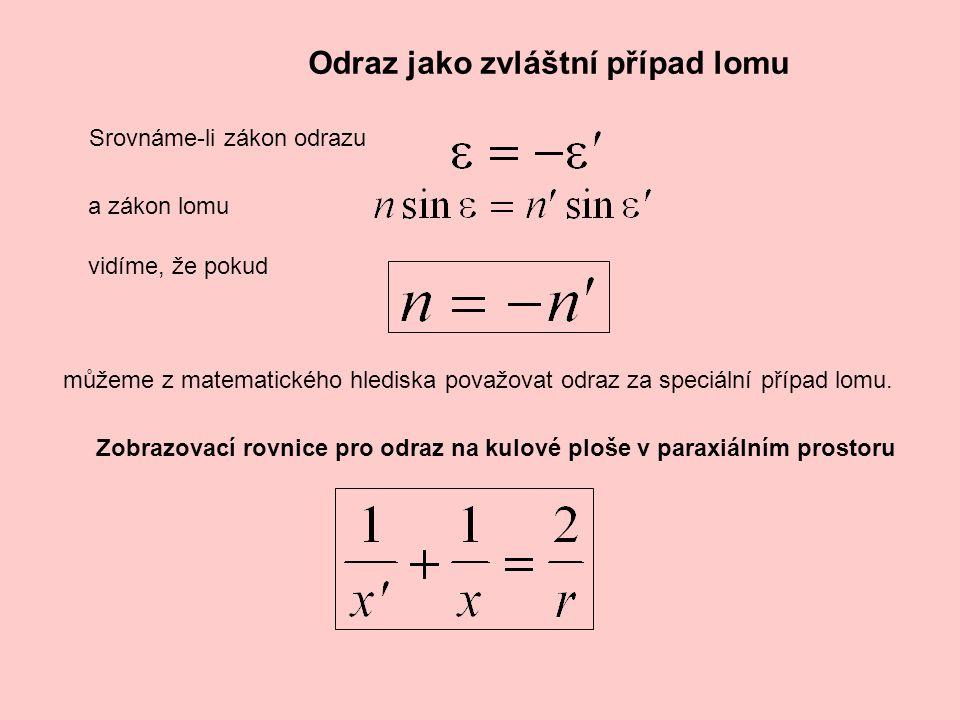 Odraz na rovinném zrcadle Zobrazovací rovnice pro odraz na rovinném zrcadle v paraxiálním prostoru