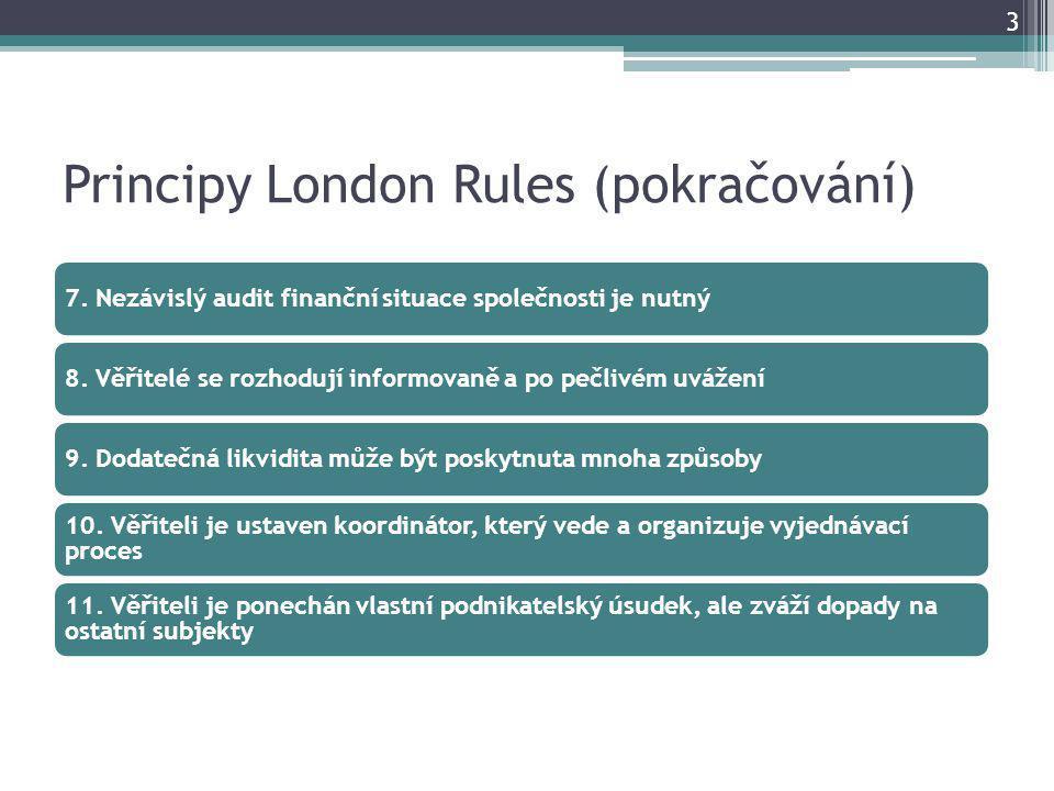 Principy London Rules (pokračování) 3 7. Nezávislý audit finanční situace společnosti je nutný8.