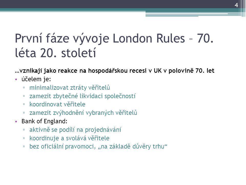 První fáze vývoje London Rules – 70. léta 20.