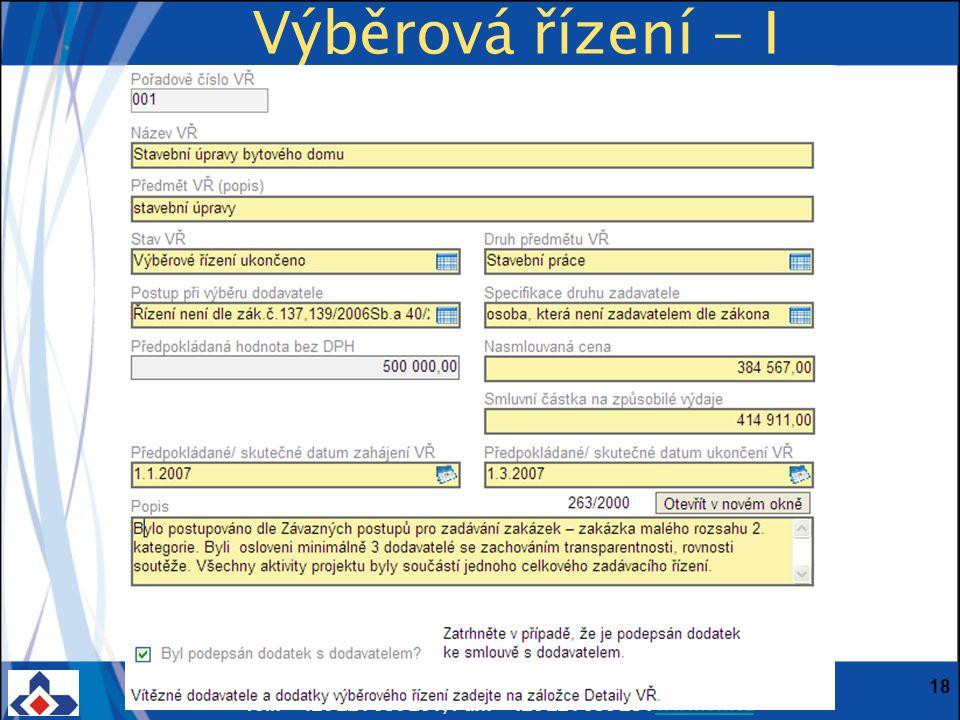 Centrum pro regionální rozvoj ČR; Vinohradská 46, 120 00 Praha 2; Tel.: + 420 221 580 201; Fax: + 420 221 580 284 www.crr.czwww.crr.cz 18 Výběrová řízení - I