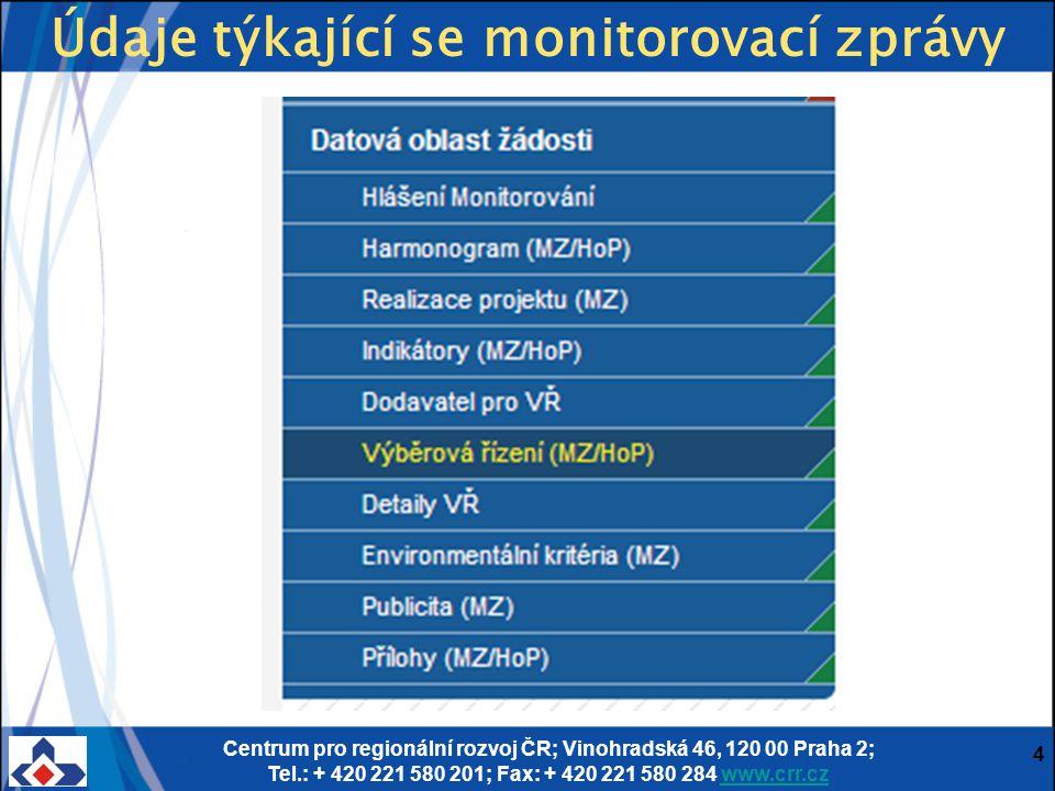 Centrum pro regionální rozvoj ČR; Vinohradská 46, 120 00 Praha 2; Tel.: + 420 221 580 201; Fax: + 420 221 580 284 www.crr.czwww.crr.cz 4 Údaje týkající se monitorovací zprávy