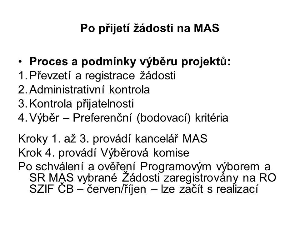 Po přijetí žádosti na MAS Proces a podmínky výběru projektů: 1.Převzetí a registrace žádosti 2.Administrativní kontrola 3.Kontrola přijatelnosti 4.Výběr – Preferenční (bodovací) kritéria Kroky 1.