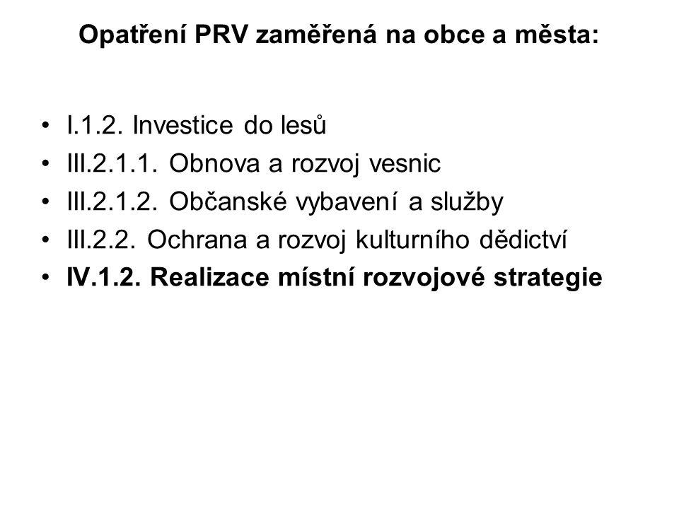 Opatření PRV zaměřená na obce a města: I.1.2. Investice do lesů III.2.1.1.