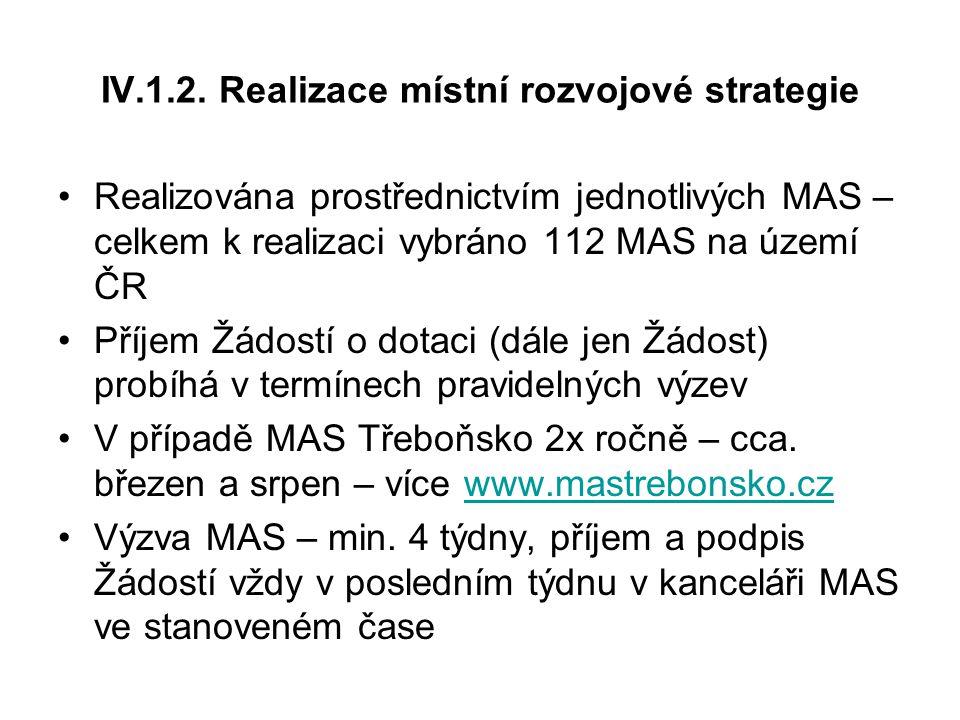Realizována prostřednictvím jednotlivých MAS – celkem k realizaci vybráno 112 MAS na území ČR Příjem Žádostí o dotaci (dále jen Žádost) probíhá v termínech pravidelných výzev V případě MAS Třeboňsko 2x ročně – cca.