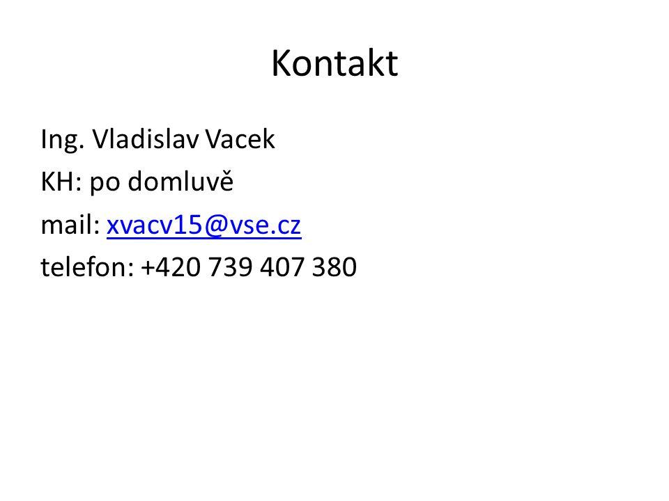 Kontakt Ing. Vladislav Vacek KH: po domluvě mail: xvacv15@vse.czxvacv15@vse.cz telefon: +420 739 407 380