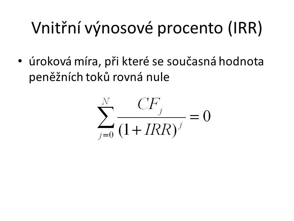 Vnitřní výnosové procento (IRR) úroková míra, při které se současná hodnota peněžních toků rovná nule
