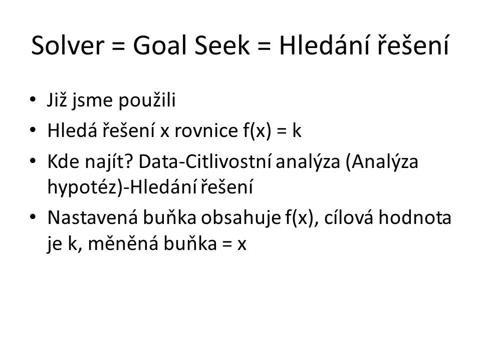 Solver = Goal Seek = Hledání řešení Již jsme použili Hledá řešení x rovnice f(x) = k Kde najít? Data-Citlivostní analýza (Analýza hypotéz)-Hledání řeš