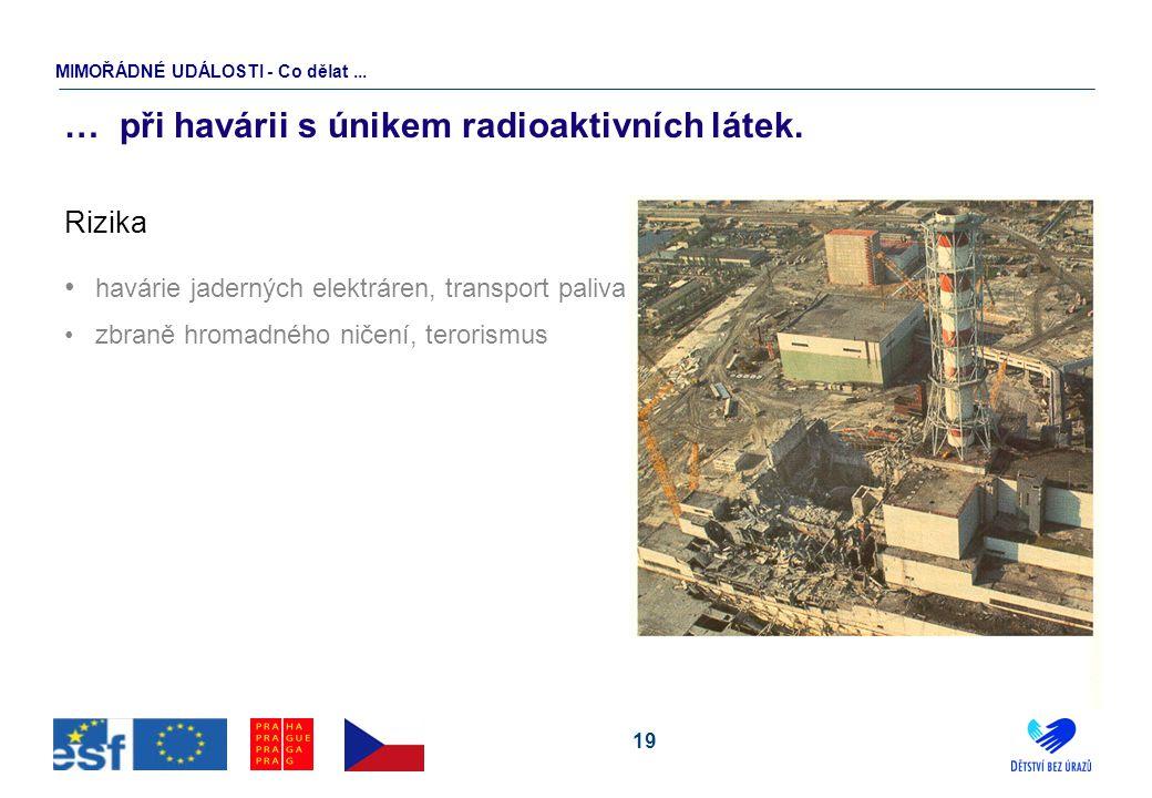 19 … při havárii s únikem radioaktivních látek. Rizika havárie jaderných elektráren, transport paliva zbraně hromadného ničení, terorismus MIMOŘÁDNÉ U
