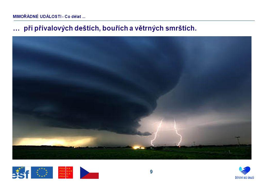 9 … při přívalových deštích, bouřích a větrných smrštích. MIMOŘÁDNÉ UDÁLOSTI - Co dělat...