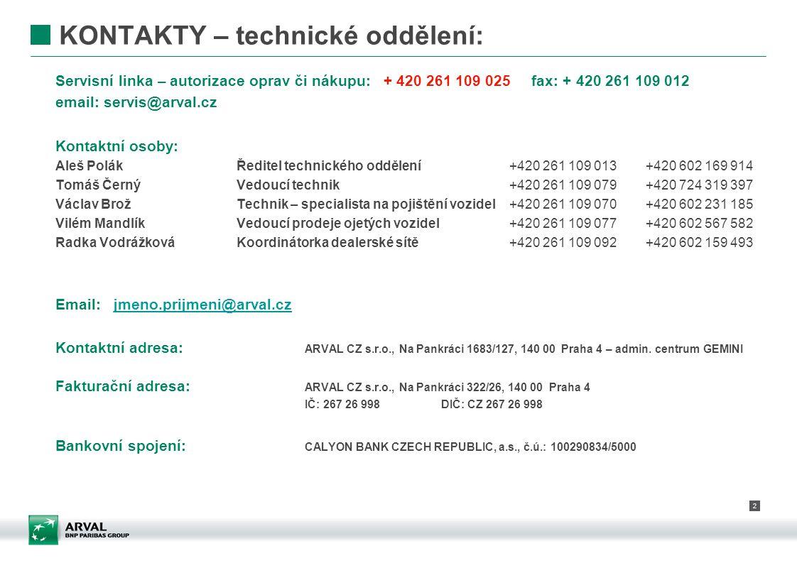 2 KONTAKTY – technické oddělení: Servisní linka – autorizace oprav či nákupu: + 420 261 109 025 fax: + 420 261 109 012 email: servis@arval.cz Kontaktn