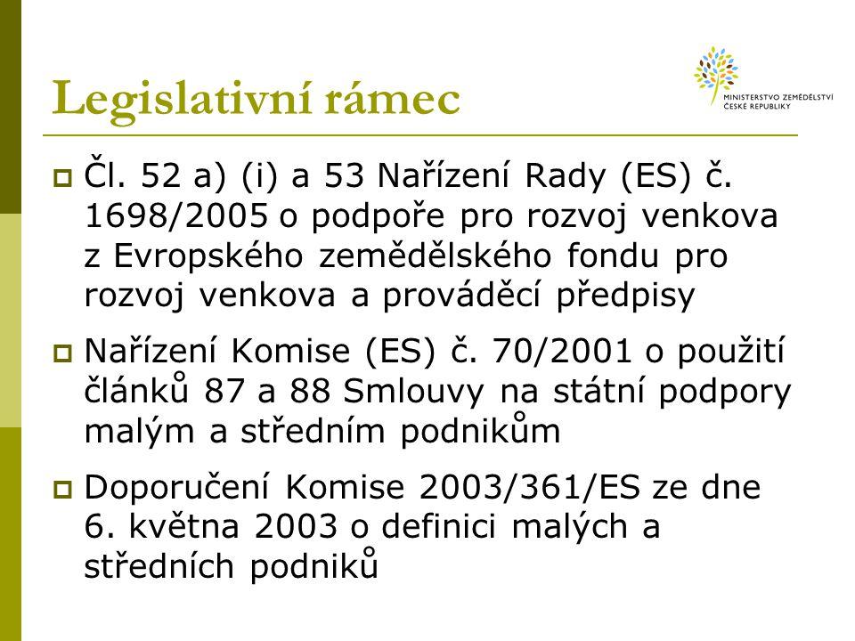 Legislativní rámec  Čl.52 a) (i) a 53 Nařízení Rady (ES) č.