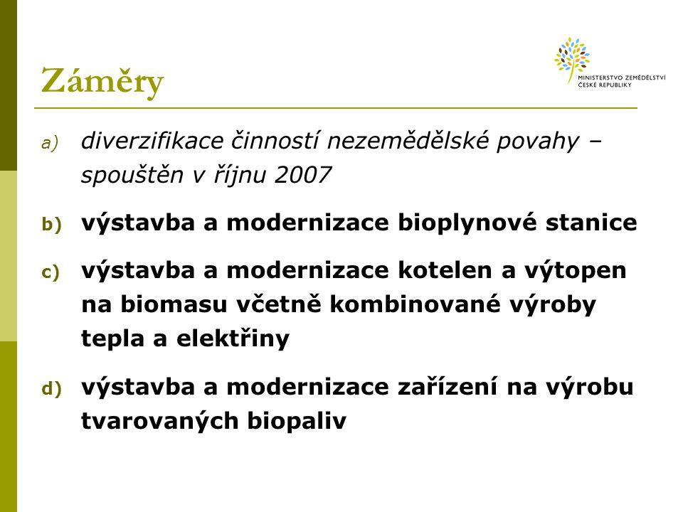 Záměry a) diverzifikace činností nezemědělské povahy – spouštěn v říjnu 2007 b) výstavba a modernizace bioplynové stanice c) výstavba a modernizace kotelen a výtopen na biomasu včetně kombinované výroby tepla a elektřiny d) výstavba a modernizace zařízení na výrobu tvarovaných biopaliv
