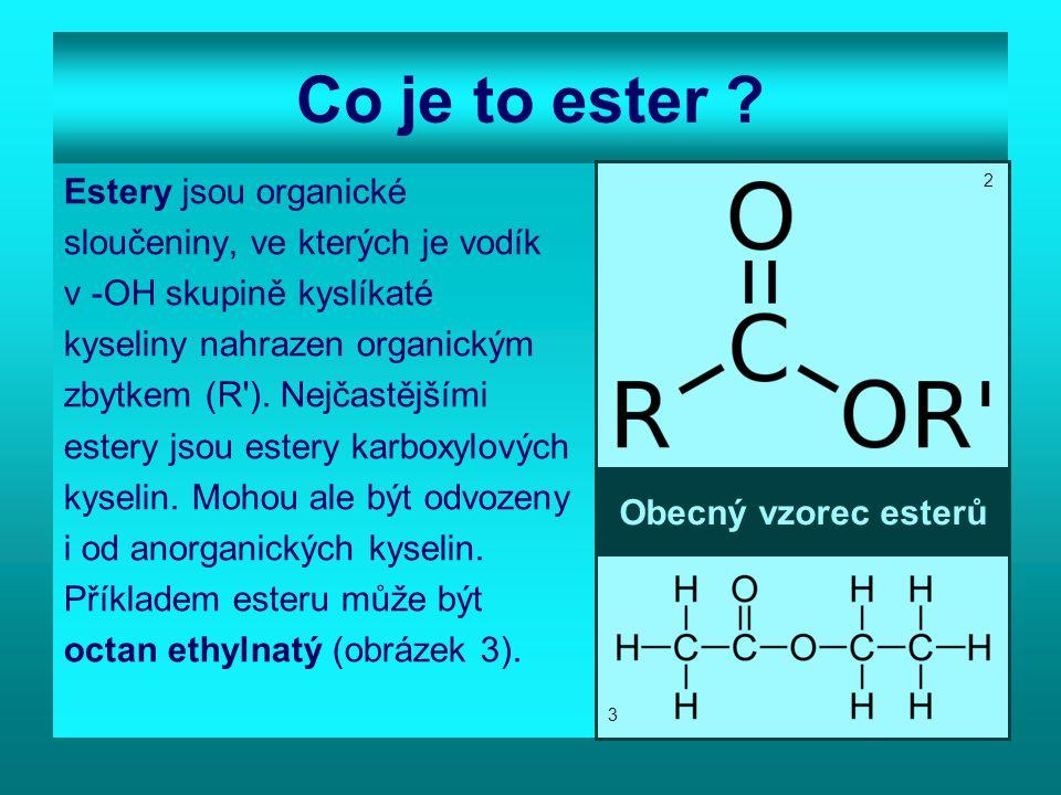 Jak estery vznikají.Estery vznikají esterifikací.