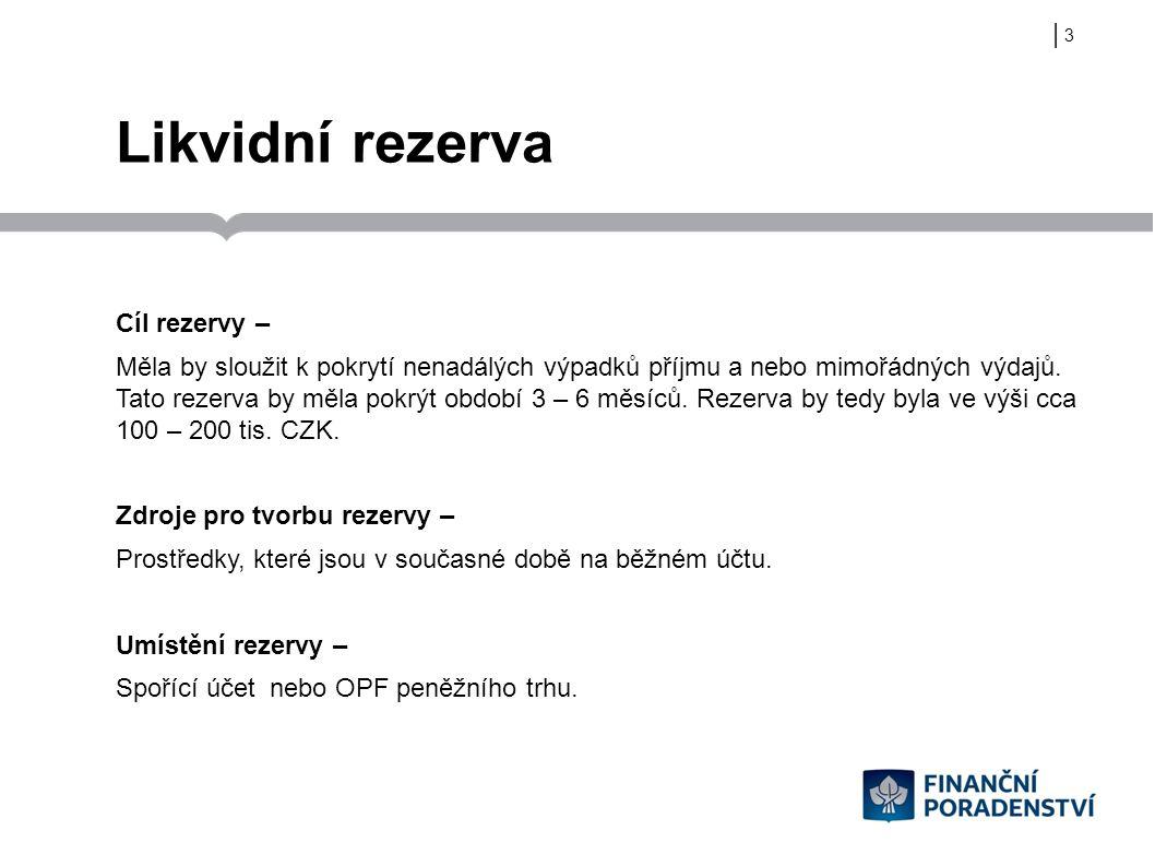 | Likvidní rezerva Cíl rezervy – Měla by sloužit k pokrytí nenadálých výpadků příjmu a nebo mimořádných výdajů. Tato rezerva by měla pokrýt období 3 –
